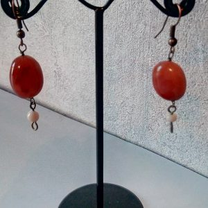 Boucles d'oreilles perles en pierre de cornaline et céramique