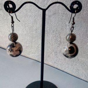Boucles d'oreilles perles en argent vieilli et céramique émaillée