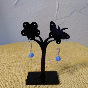 Boucles d'oreilles perle en porcelaine bleue