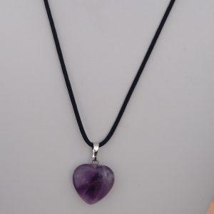 Pendentif en fil de coton ciré, pendentif coeur en améthyste