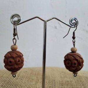Boucles d'oreilles en bois exotique sculpté par les moines Shaolin
