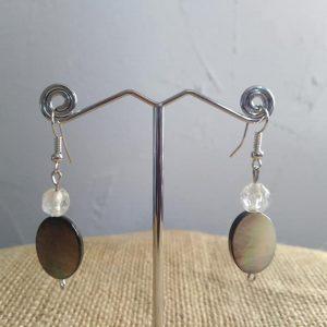 ucles d'oreilles perles de nacre et de verre